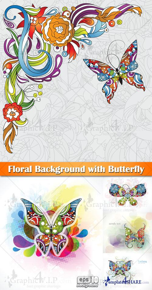 Floral Background with Butterfly - Stock Vectors