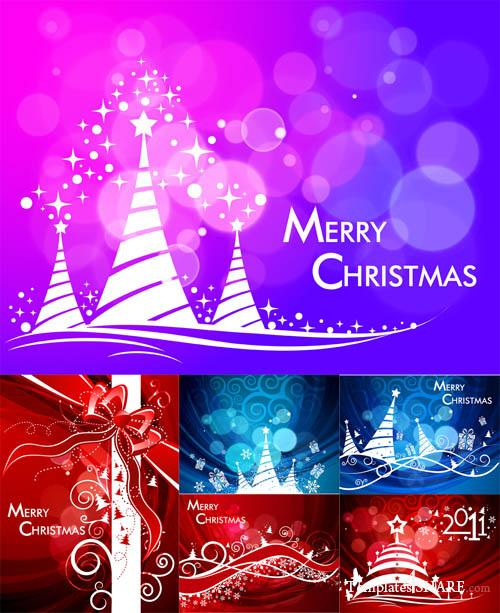 Christmas and New Year Vector Postcards