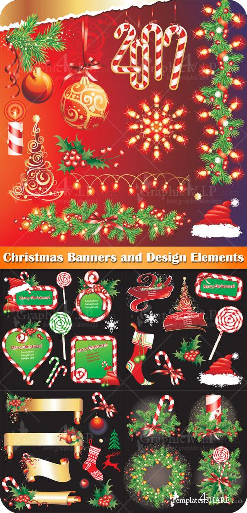 Christmas Banners and Design Elements - Stock Vectors