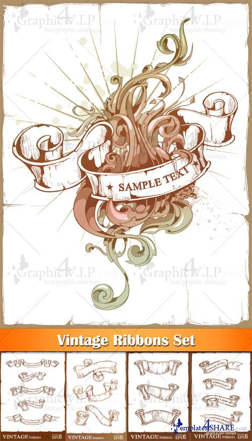 Vintage Ribbons Set - Stock Vectors