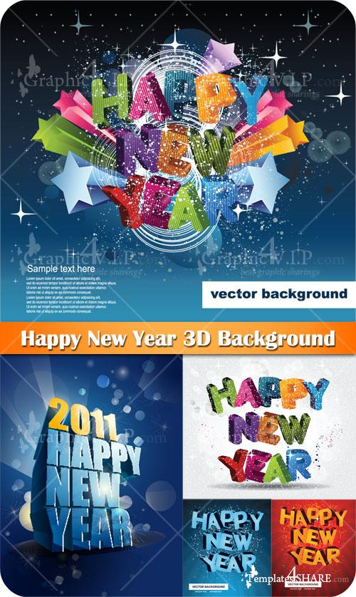 Happy New Year 3D Background - Stock Vectors