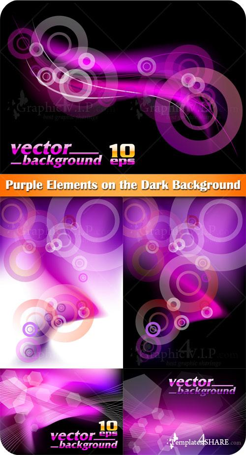Purple Elements on the Dark Background - Stock Vectors