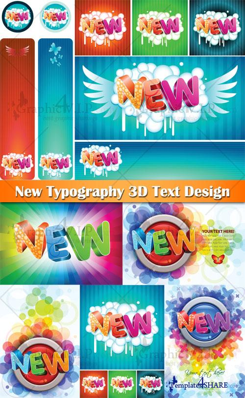 New Typography 3D Text Design - Stock Vectors