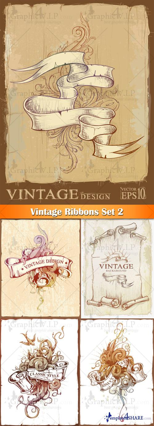 Vintage Ribbons Set 2 - Stock Vectors