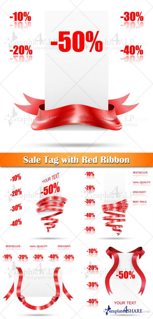 Sale Tag with Red Ribbon - Stock Vectors