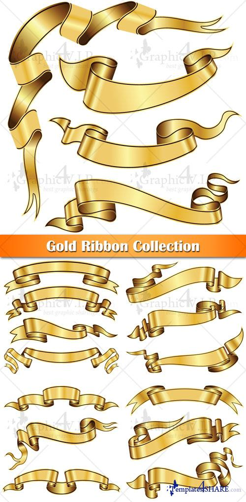 Gold Ribbon Collection - Stock Vectors