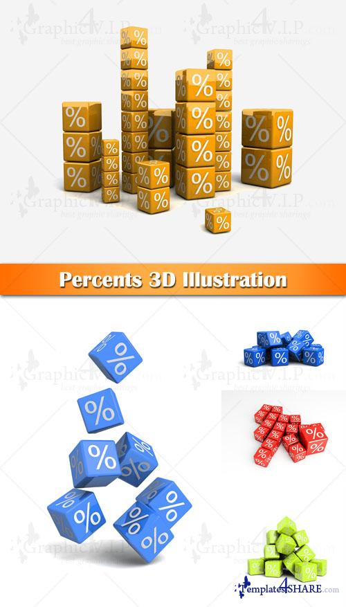 Percents 3D Illustration - Stock Photos