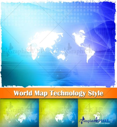 World Map Technology Style - Stock Photos