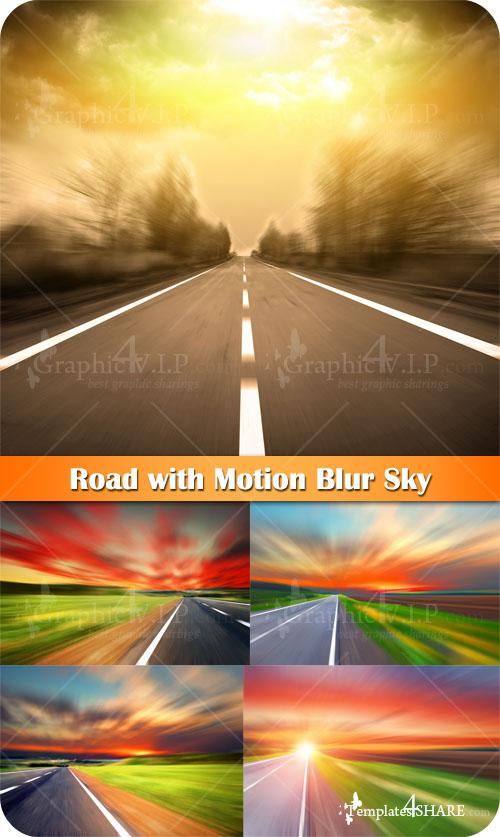 Road with Motion Blur Sky - Stock Photos