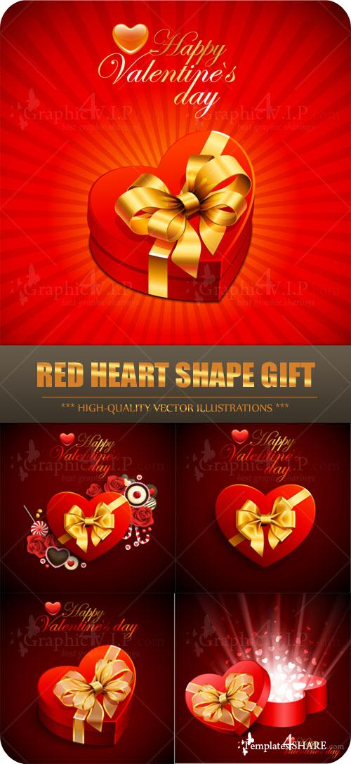 Red Heart Shape Gift - Stock Vectors