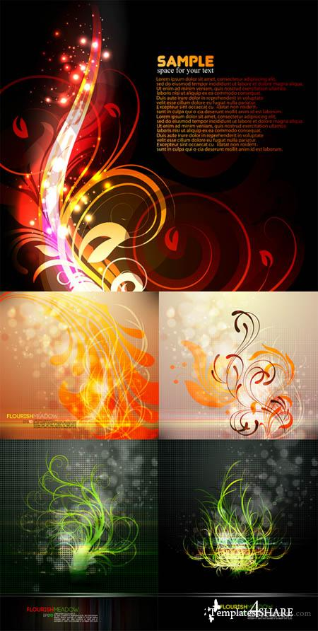 Abstract Floral Vector Backgrounds