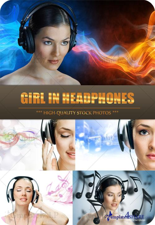 Girl in Headphones - Stock Photos