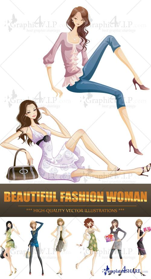 Beautiful Fashion Woman - Stock Vectors