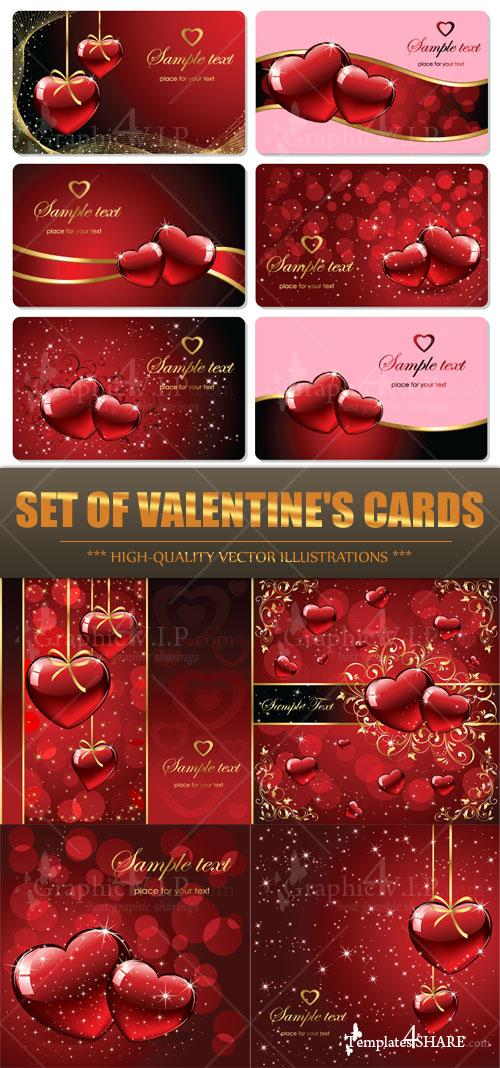 Set of Valentine's Cards - Stock Vectors