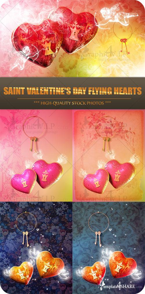 Saint Valentine's Day Flying Hearts - Stock Photos