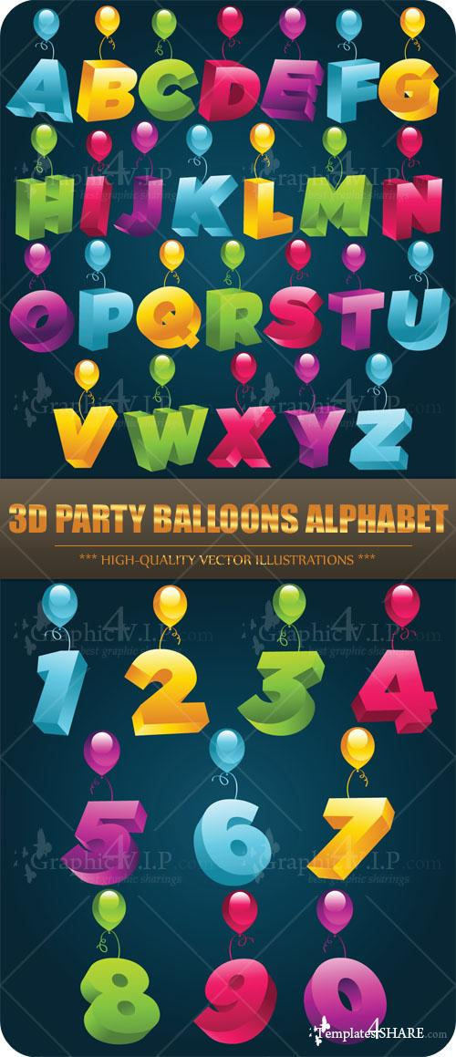 3D Party Balloons Alphabet - Stock Vectors
