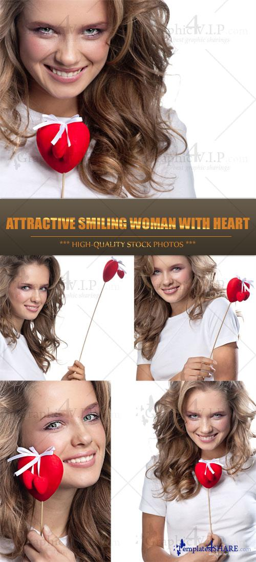 Attractive Smiling Woman with Heart - Stock Photos