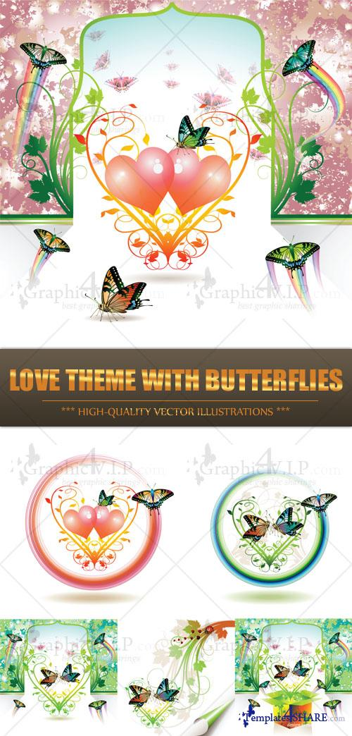 Love Theme with Butterflies - Stock Vectors