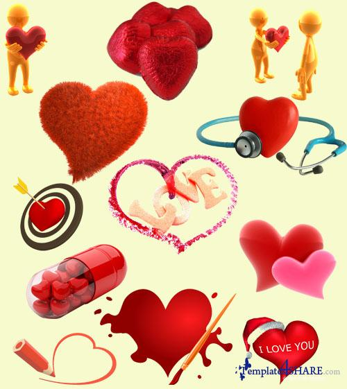 Valentine Day Hearts - PSD Templates
