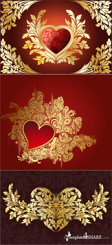 Floral Heart Vector Backgrounds