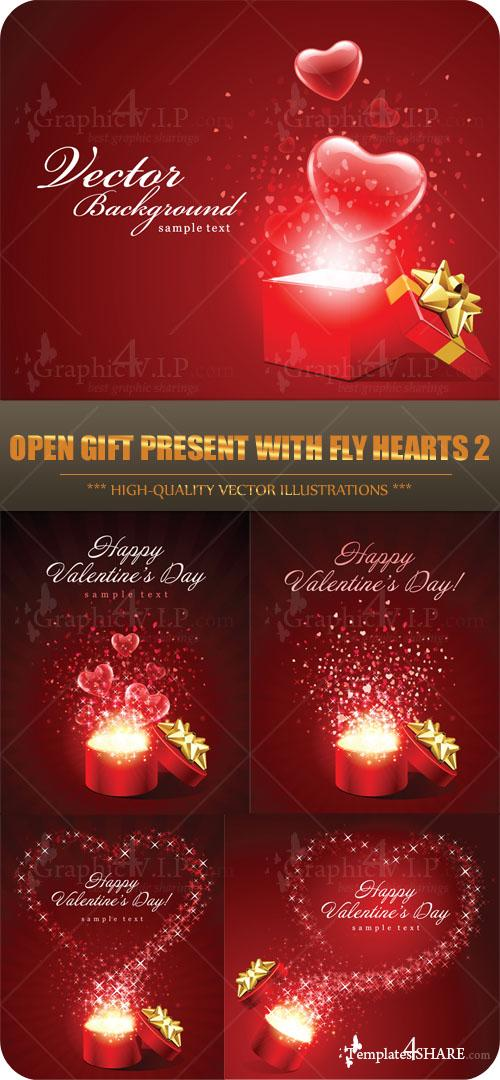 Open Gift Present with Fly Hearts 2 - Stock Vectors