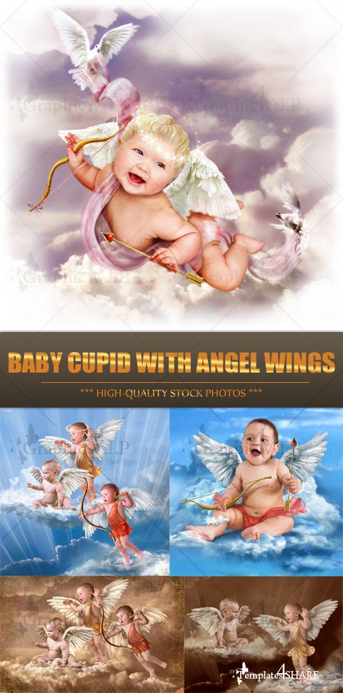 Baby Cupid with Angel Wings - Stock Photos