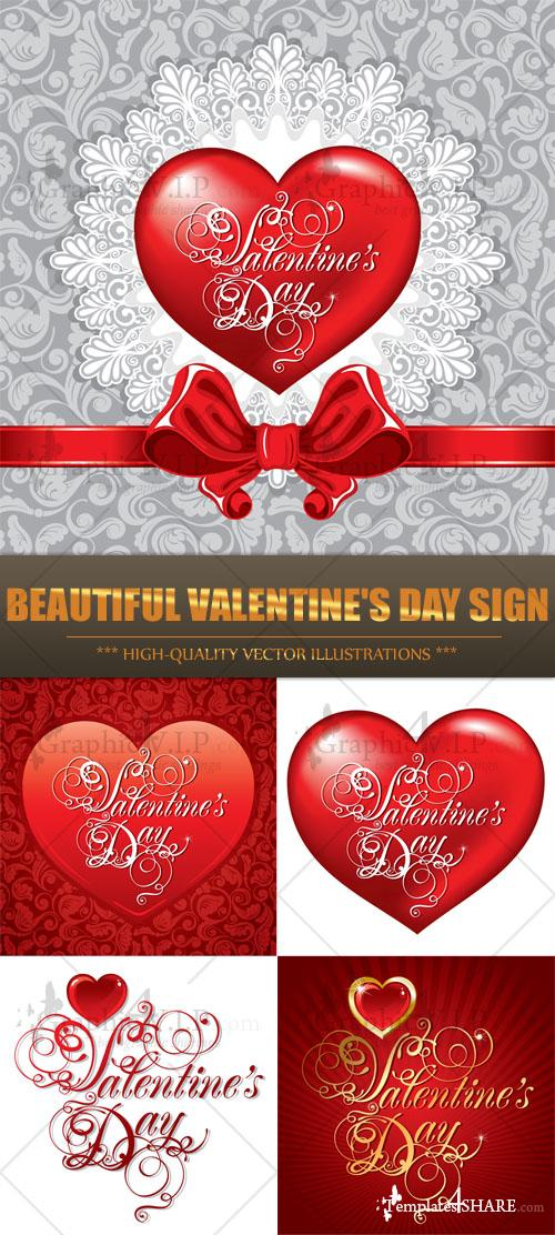 Beautiful Valentine's Day Sign - Stock Vectors