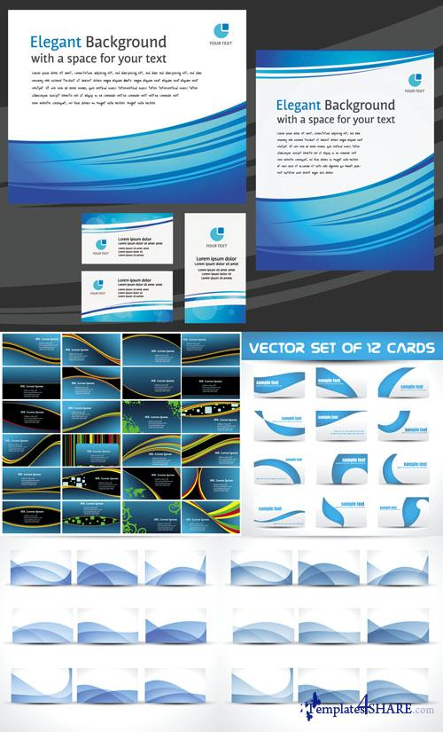 Business Vector Cards Blue Style