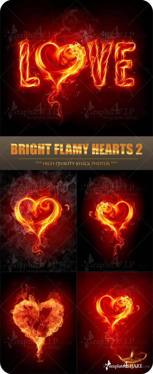Bright Flamy Hearts 2 - Stock Photos