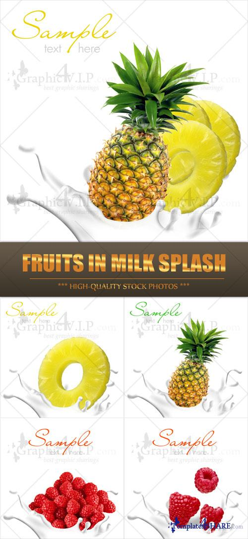 Fruits in Milk Splash - Stock Photos