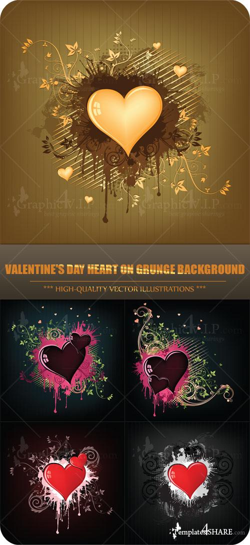 Valentine's Day Heart on Grunge Background - Stock Vectors