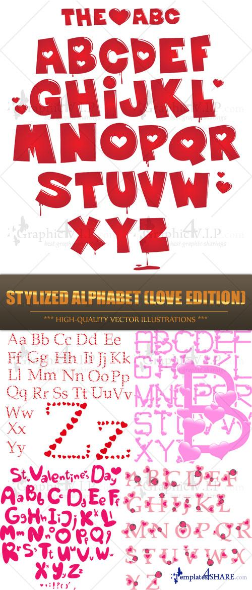 Stylized Alphabet (Love Edition) - Stock Vectors