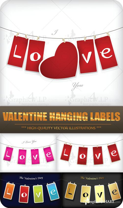 Valentine Hanging Labels - Stock Vectors