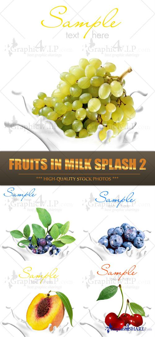 Fruits in Milk Splash 2 - Stock Photos