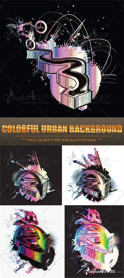 Colorful Urban Background - Stock Vectors