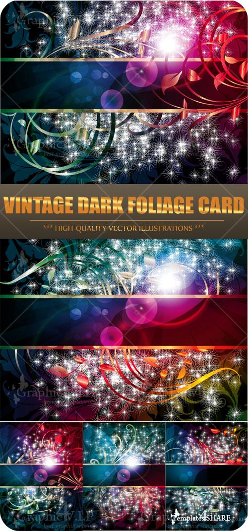 Vintage Dark Foliage Card - Stock Vectors