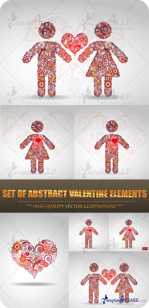 Set of Abstract Valentine Elements - Stock Vectors
