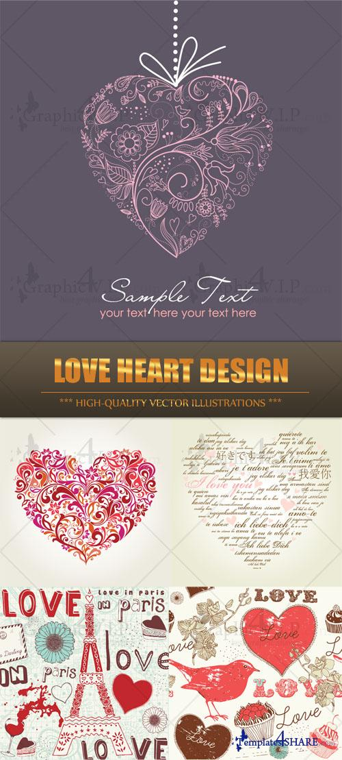 Love Heart Design - Stock Vectors