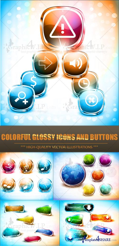 Colorful Glossy Icons and Buttons - Stock Vectors