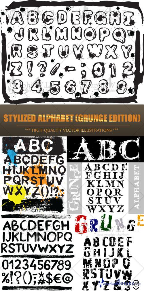 Stylized Alphabet (Grunge Edition) - Stock Vectors