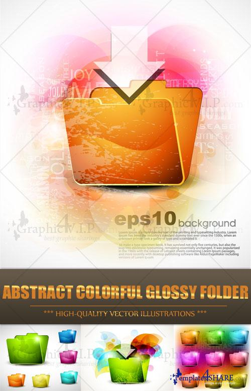 Abstract Colorful Glossy Folder - Stock Vectors