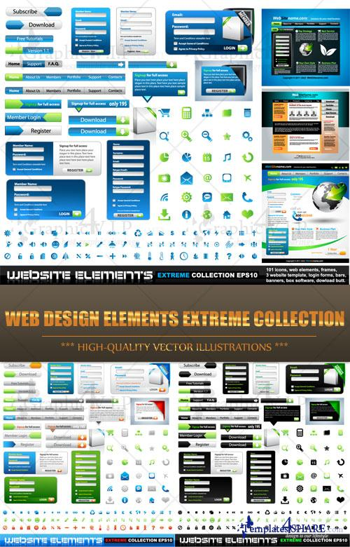 Web Design Elements Extreme Collection - Stock Vectors