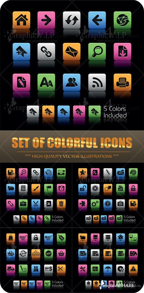 Set of Colorful Icons - Stock Vectors