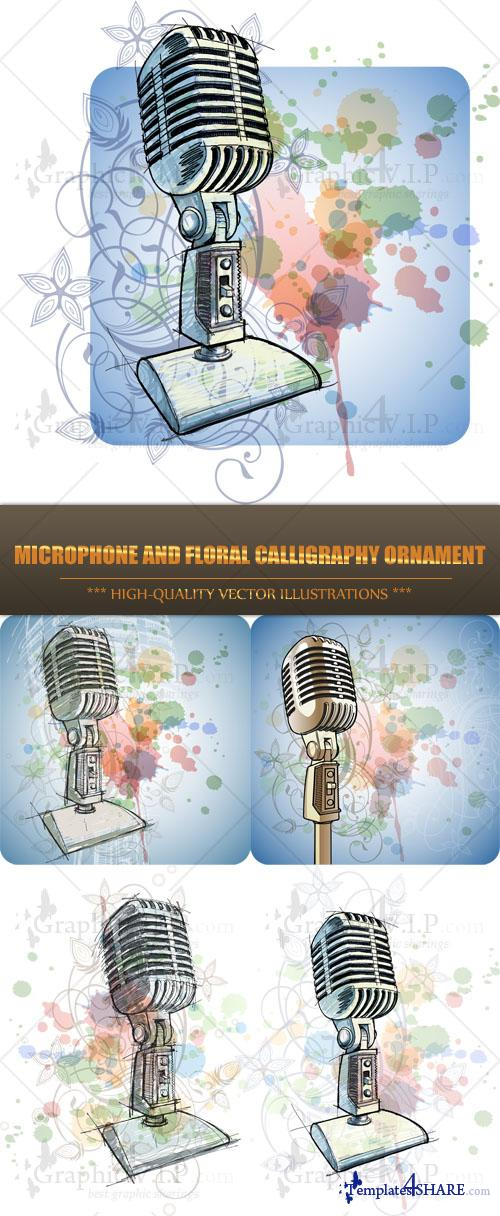 Microphone and Floral Calligraphy Ornament - Stock Vectors