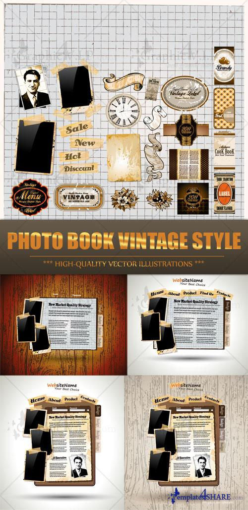 Photo Book Vintage Style - Stock Vectors