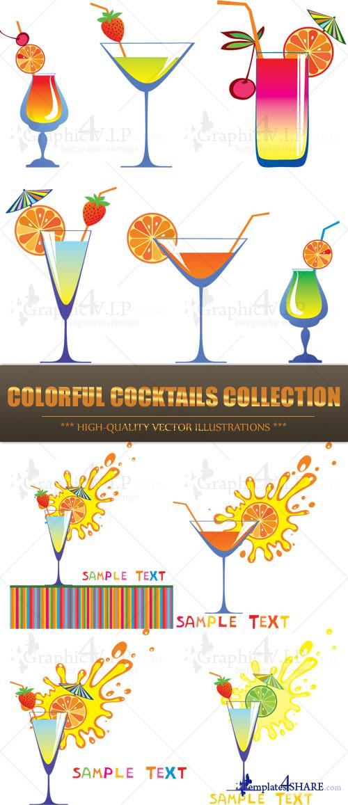 Colorful Cocktails Collection - Stock Vectors