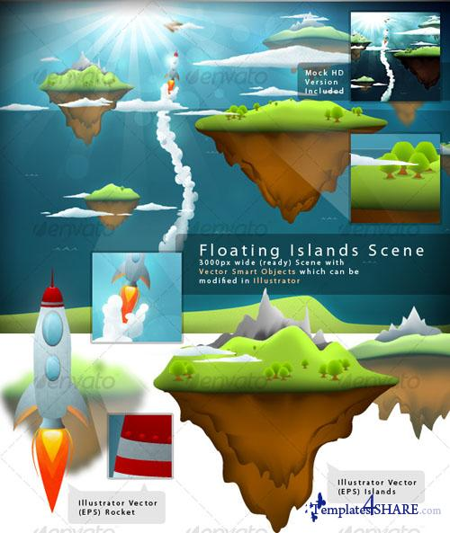Floating Islands Scene (GraphicRiver)