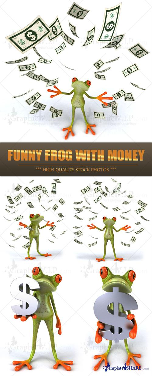 Funny Frog with Money - Stock Photos