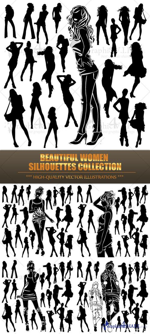 Beautiful Women Silhouettes Collection 2 - Stock Vectors