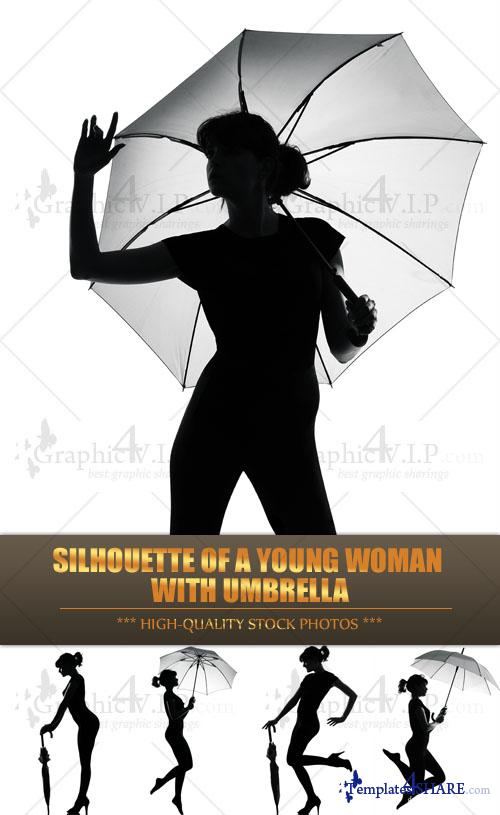 Silhouette of a Young Woman with Umbrella - Stock Photos